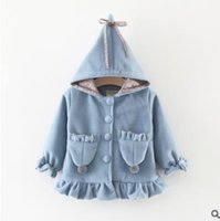 Wholesale Girls Ruffle Winter Coats - Baby girls coats Toddler kids pompons double-pockets outwears Infants ruffle lace hooded coats Autumn winter thicken windbreakers G1621