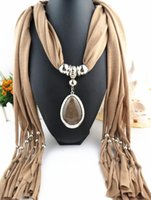 Wholesale Necklace Scarve - Oval Pendant Necklace Collares Brand New Charm Wrap Diamond Jewelry Scarf Silver Plated Necklace drop pendant scarve