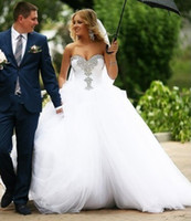 2019 Long Ball Gown Sweetheart Crystal Wedding Dress Tulle With Lace Up Back New Floor Length Bridal Gowns