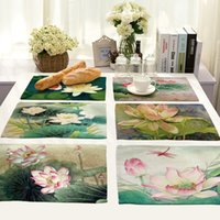 Wholesale Napkin Printed - Home Modern Table Placemat Lotus Oil Painting Printed Cotton And Linen Napkin Tablecloth Home Table Decoration Coffee Pads