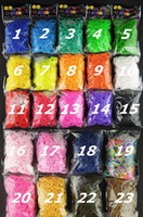 gummiband armbänder clips großhandel-Bessere Qualität 23 Farben Loom Bands Loom Colar Rubber Bands Loom Armbänder (600 Bänder + 24 Clips) Auf Lager 4 Tage Lieferzeit SCHNELL!