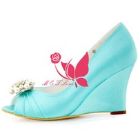 Wholesale Cheap Yellow Wedge Heels - Brand New Cheap Shoes Mint Satin Wedges Bridal Beaded Shoes Peep Toe Wedding & Party Shoes WS0109 Customise Size 33 to 43