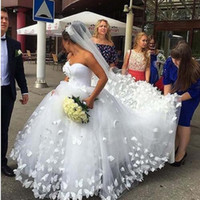 Wholesale butterfly bride dresses online - Hot Sale D Applique Butterfly Ball Gowns Wedding Dresses Sweetheart Plus Size cathedral train Long Bridal Dress For Bride