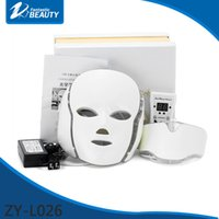 Wholesale Led Light Device For Wrinkles - PDT 7 LED Light Therapy Face Beauty Machine LED Facial Neck Mask With Microcurrent for Skin Whitening Device