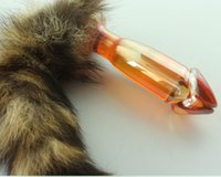 kedi kuyruğu anal plug toptan satış-Kadın kadın kedi tilki kuyruğu hayvan şeffaf kristal cam penis tasarım anal plug vajina fiş butt plug seks oyuncakları ürünleri