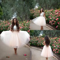 Wholesale Lined Tutu Tops - Romantic Blush Pink Party Dresses Adult Tutu Tulle Skirt Fabulous Lace Short Sleeve Top Two Pieces Prom Homecoming Dresses