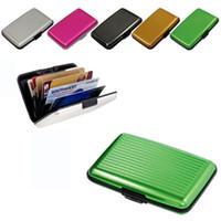 Wholesale Purple Aluminum Wallet - Aluminum Metal Pocket Business ID Credit Card Wallet Holder Waterproof Case Box