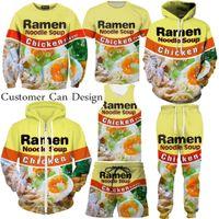Wholesale couples hoodie - New Fashion Couples Men Women Unisex Ramen Noodles Chicken Beef 3D Print Tracksuits Suits Hoodies Pullover Top S-5XL TZ1