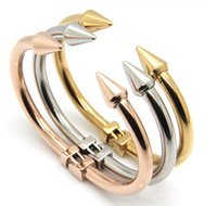 Wholesale Womens Punk Bracelets - Hotsale Newest 58mm*43mm Nail Design Womens Bracelets Punk Stainless Steel Cuff Bangle For Gift Silver&Gold&Rose Gold Three Tone