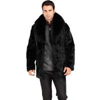 abrigos de piel de zorro de los hombres al por mayor-Venta al por mayor - ¡Venta caliente! Los hombres del invierno forman el cuello de piel de zorro abrigos de piel de conejo de imitación Negro traje de cuero de lujo parka de moda casual chaquetas de moda masculina