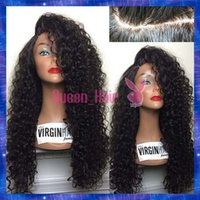 Wholesale Cheap Blonde Full Lace Wigs - Virgin Remy Indian Hair Full Lace Wigs Bleached Knots Curly Human Hair Lace Front Wigs With Baby Hair Around Cheap Stock