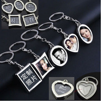Wholesale Heart Picture Frames - Free shipping unisex Mini Creative Metal Alloy Insert Photo Picture Frame Keyring Keychain Gift