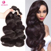 HOT BEAUTY HAIR Unprocessed Natural peruano malaio brasileiro Virgin Hair Body Bundles de ondas 3 PCS Extensões de cabelo humano Retail Wholesale