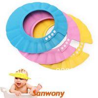 ingrosso cappelli da bagno per bambini-Nuovo 2014 Sanwony Safe Shampoo Baby Shower Bathing Use Proteggi il cappello morbido e morbido per i bambini del bambino Commercio all'ingrosso libero di trasporto