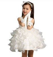Wholesale Snow White Flower Girl Dress - Children princess dress wedding flower girl dress girl white fluffy dress snow whitefemale in autumn and winter