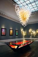 galerias de iluminacion al por mayor-Longreecraft Modern Chandelier Lighting Hotel Gallery Art Lighting Color blanco Vidrio soplado a mano LED Cyrstal Colgante y araña