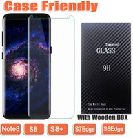 Wholesale Note Free Case - Case Friendly 3D Curved Tempered Glass Phone Screen Protecto For Samsung S6Edge S7Edge S8 S8Plus NOTE8 NOTE 8 wooden box dhl free shippin