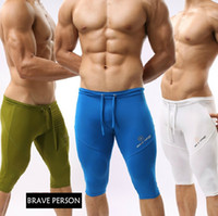Wholesale Sports Leggings For Men - Wholesale-1stuck Summer Shorts Pants Mens Leggings Five Pants Sexy Tight Short Sports Pants For Men Beach Pants Male Sleep boxers