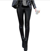 ingrosso collant invernali delle donne-2017 belle donne inverno moda PU patchwork in pelle casual elastico in vita Stretch magro matita sottile leggings pantaloni collant