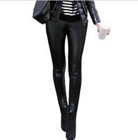 yeni kadın pu deri ince toptan satış-LCW Yeni Tasarım Bayan Kış Moda PU Deri Patchwork Casual Elastik Bel Stretch Skinny Kalem İnce Tozluklar Tayt Pantolon