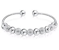 Wholesale good luck bracelets for women - Wholesale Sterling Silver Plated Cuff Bangle Bracelets Good Luck Lucky Beads Anti allergy Hand Jewelry for Women Sale 20pcs lot