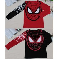 Compra Maniche Lunghe Spiderman-20pcs / lot SpiderMan Ragazzi a maniche lunghe T-shirt Spider Man bambini Tee Shirts Top Moda di New Jersey 2016 Spring