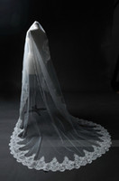 Wholesale church laced veils resale online - Elegant white Ivory Long Bridal Veil Tulle Lace Appliques Wedding Veil For Church New Arrival