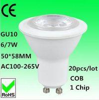Wholesale Cob Technology - Led bulb cob gu10 spotlight 6W 7W AC 100-265V bulbs lampada AL plastic safety high technology wholesale 20pcs light new 2015