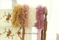 Wholesale Lace Ruffle Scarf - Sweet Girls Lace Neckerchief Autumn Winter Children Lace Ruffle Scarf Girl Scarves Kids Wraps Accessories Pink Yellow Khaki Apricot BJ024