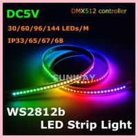 Wholesale Building Decoration Lights - 5M 300pixels waterproof digital LED strip lights WS2812B built-in IC 5050 SMD individually addressable RGB full color LED strip 5V