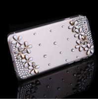Wholesale Hard Back Diamond Cases - Luxury Clear Transparent Crystal Bling Rhinestone Diamond Silver Flower Case Hard Back Cover Protective Shell for Apple iPhone 6