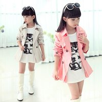 Wholesale Korean Warm Clothing - 2015 new Korean children tench coats princess girls coat spring autumn winter girls outwear kids warm long clothes