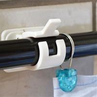 Wholesale Towel Rod Hooks - Wholesale- 2pcs! Crossbar curtain rods Wall hooks rack organizer adhesive stickers towel curtain rod bracket for home decoration