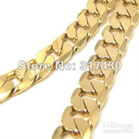 Wholesale Men Heavy Gold Chain - Low Price Heavy Men's Necklace 18k Yellow Gold Filled Necklace Wide:10MM Length:60 cm Curb Chain Link Men
