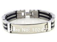 """Wholesale Wholesale Plain Bangle Bracelets - Wholesale-1PC Hot Silver Plain ID Engravable Mens Stainless steel Link Bracelet Bangle Cuff 8.3"""" Free SHip"""
