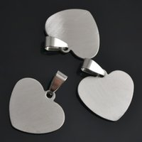 Wholesale Dog Pcs - 50 pcs a lot Stainless Steel Stamping Blanks DIY Romantic Heart Accessory Dog Tag Lobster Jewelry For Your Design Sports DIY Pendant Charms