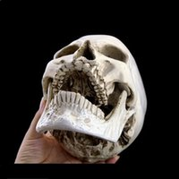 Wholesale Realistic Skeleton Human - ecoration Crafts Statues Sculptures P-Flame Human Skull Replica Resin Model Medical Realistic 11x7x8.5cm Skeleton Collection Handicraft H...