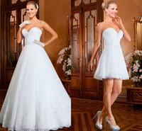Wholesale Two Piece Detachable Wedding Dresses - 2016 New Wedding Dresses Sweetheart Vestidos De Noiva Lace Sequins Beading Two Pieces A-line Short Detachable Train Skirt Bridal Gown EV0333