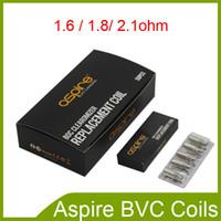 Wholesale Dual Coil Ecig - Authentic Aspire BVC Coils for Aspire CE5 BDC Atomizers ET BDC Atomizers CE5-S BDC ET-S BDC Dual Coils 1.6 1.8 2.1ohm ecig DHL free 2210001