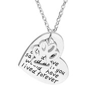Wholesale Pet Stamps - Pet Pendant Necklace Dog Cat Hand Stamped Jewelry Pet Memorial Silver Alloy Heart Pendants Jewelry Gifts