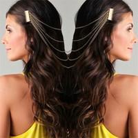 Wholesale Trendy Chain Headbands - Bohemia Draping Hair Combs Tassel Chains Headband Head wrap Headdress Bridal Hair Wedding Tiaras Hair Accessories