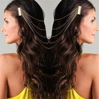 correntes de cabeleireiro venda por atacado-Bohemia Draping Pentes de Cabelo Borla Cadeias Headband envoltório Cabeça cocar Nupcial Cabelo Casamento Tiaras Acessórios Para o Cabelo