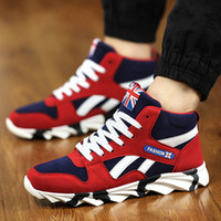 Wholesale Skate Shoes For Winter - Skate Shoes For Men Comfortable Breathable Inside Casual Male Sports Shoes Leather Vamp Fashion Trend Mens High Top Shoes Retail H881