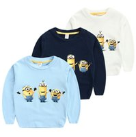 Wholesale Minions Children Tshirt - Wholesale-Autumn Minion Cartoon Cotton Kids Children T shirt Long Sleeve Casual Tshirt Clothes Roupas Vetement Sweatershirt For Baby Boys