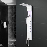 Wholesale Steel Waterfall - Stainless Steel Shower Panel System,LED Rainfall Waterfall lights with Handle Shower Massage System, LED Ceiling Shower Set for Bathroom