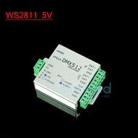 tira de led dmx512 al por mayor-Al por mayor-WS2811 5V DMX LED RGB controlador decodificador DMX512 WS2812B WS2811 LED Flexble Strip SPI Converter Salida Max 170 píxeles