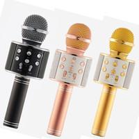 Wholesale Magic Music Player - WS858 Bluetooth wireless Microphone HIFI Speaker Condenser Magic Karaoke Player MIC Speaker Record Music For Iphone Android Tablets OTH130