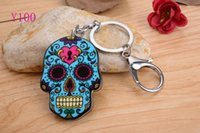 Wholesale Wholesaler Bags - Skull head with New KeyChain Pendant Purse Bag Car Key Chain ring New Fashion Lover Gift Y100