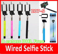 trípode de los monópodos al por mayor-z07-5 plus Z07-5Plus 5s Monopod extensible Selfie Stick Trípode Ranura de mano Monopods Cable Take Pole para iphone 6 iOS Android