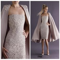 Wholesale Sexy Purple Jacket - Vintage 2016 Sexy Cheap Formal Short Sheath Evening Dresses With Jackets Knee-Length Party Dress Lace Beading Special Occasion Party Gowns
